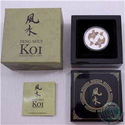 New Zealand Mint Issue 2012 Feng Shui Koi 1 oz .9999 Fine Silver Proof Coloured Coin in Chinese Lacq
