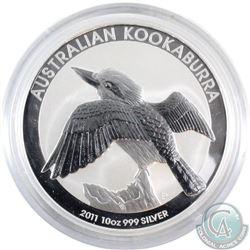 Australia 2011 10oz Australia Kookaburra .999 Fine Silver Coin (TAX Exempt) - capsule is scuffed