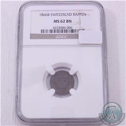 Switzerland 1866B Rappen NGC Certified MS-62; Brown