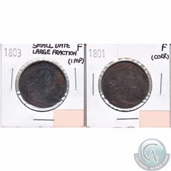 United States 1801 Cent Fine (Corrosion) & 1803 Cent Small Date Large Fraction in Fine (impaired)