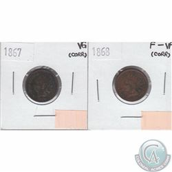 United States 1867 Cent Very Good, 1868 Cent F-VF. Both coins have problems. 2 pcs