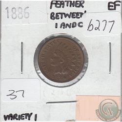 United States 1886 Variety Cent in Extra Fine; Feather Between I and C