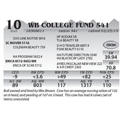 Lot 10 - WB College Fund 541