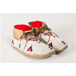 "Cheyenne Fully Beaded Woman's Moccasins, 8 ¾"" long"