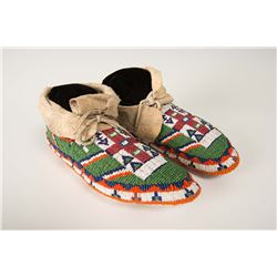 "Sioux Beaded Woman's Ceremonial Moccasins, 9 ½"" long"