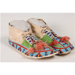 "Lakota Beaded Man's Moccasins, 11 ½"" long"