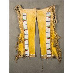 """Southern Cheyenne or Arapahoe Tab Style Beaded Leggings, 36"""" long"""