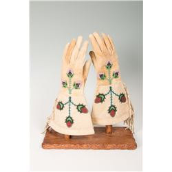 "Santee Sioux Beaded Woman's Gauntlets, 13 ½"" long"