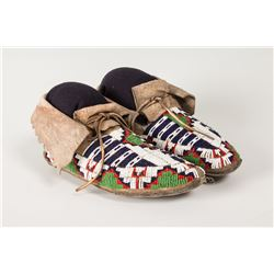 "Ute Fully Beaded Woman's Moccasins, 9 ½"" long"