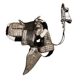 Unmarked, Fully Tooled Black Parade Saddle