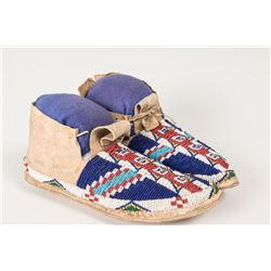 """Sioux Fully Beaded Man's Moccasins, 10"""" long"""