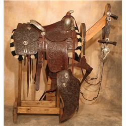 Edward Bohlin Sterling Silver Mounted Brown Tooled Saddle