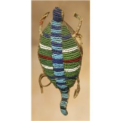 "Northern Plains Beaded Turtle Fetish, 6"" x 2 ¼"""
