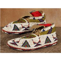 "Northern Plains Fully Beaded Ceremonial Moccasins, 10"" long"