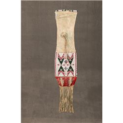 "Northern Arapaho Beaded and Quilled Pipebag, 30"" overall"