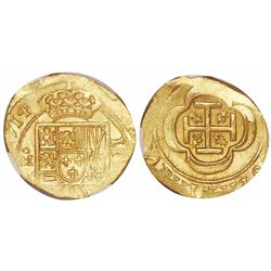 Mexico City, Mexico, cob 4 escudos, (1)714J, encapsulated NGC MS 63, with WINGS gold sticker, from t