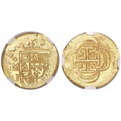 Mexico City, Mexico, cob 1 escudo, 1714J, encapsulated NGC MS 62, from the 1715 Fleet.