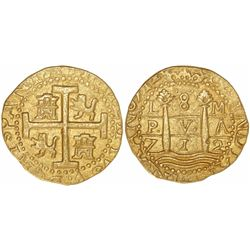 Lima, Peru, cob 8 escudos, 1712M, encapsulated NGC AU 55, from the 1715 Fleet (as stated inside the