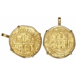 Lima, Peru, cob 8 escudos, 1712M, rotated legend, from the 1715 Fleet, mounted in 18K gold pendant-b