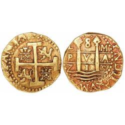 Lima, Peru, cob 8 escudos, 1715M, rare.