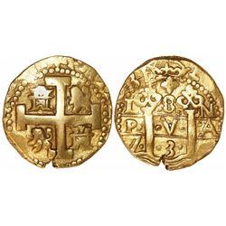 Lima, Peru, cob 8 escudos, 1731/0N, rare.