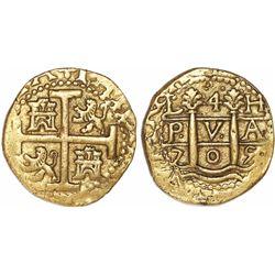 Lima, Peru, cob 4 escudos, 1705H, rare.