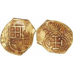 """Bogota, Colombia, cob 2 escudos, (16)28A, very rare, from the """"Mesuno Hoard"""" (ca. 1636), Plate Coin"""