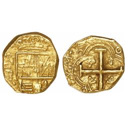 Bogota, Colombia, cob 2 escudos, Philip IV, assayer not visible (R to right, early 1650s), from the