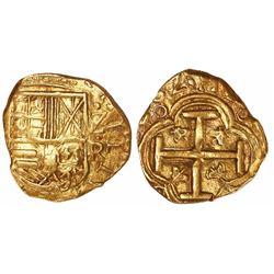 """Bogota, Colombia, cob 2 escudos, 1662/1R, denomination """"Z,"""" rare."""