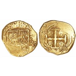 Bogota, Colombia, cob 2 escudos, Charles II, assayer R below denomination II to right (1670s).