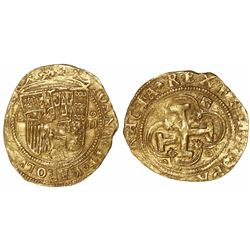 Segovia, Spain, 1 escudo, Charles-Joanna, assayer oD to right, mintmark aqueduct to left and on reve