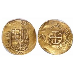Seville, Spain, cob 4 escudos, Philip II, assayer B below mintmark S and denomination oIIII to left,