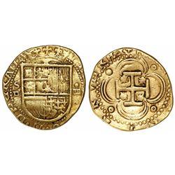 Seville, Spain, cob 4 escudos, Philip II, assayer Gothic D below mintmark S to left.
