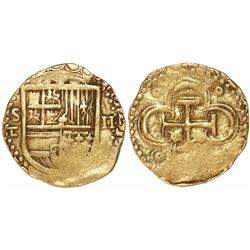 Seville, Spain, cob 2 escudos, Philip II, assayer Gothic D with open right side (scarce) below mintm
