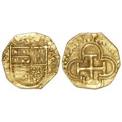 Seville, Spain, cob 1 escudo, Philip II, 1590 date to right, assayer Gothic D below mintmark S to le