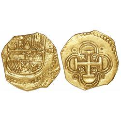 Seville, Spain, cob 2 escudos, Philip III, assayer B to left, unique error with letter M instead of