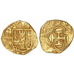Seville, Spain, cob 1 escudo, Philip III, assayer D below mintmark S to left.