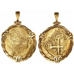 Seville, Spain, cob 8 escudos, Charles II, assayer M, mounted in fancy 18K gold pendant-bezel.