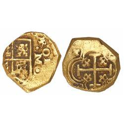 Seville, Spain, cob 1 escudo, Charles II, assayer M to right, rare.