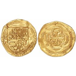 Toledo, Spain, cob 2 escudos, Philip II, assayer M below mintmark oT to left, denomination II with d