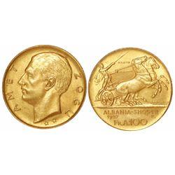 Albania (struck in Rome), prova 100 franga ari, Zog I, 1927-R, two stars below head.
