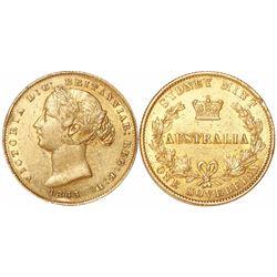 Sydney, Australia, sovereign, Victoria (young head), 1863.