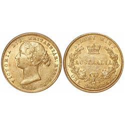 Sydney, Australia, sovereign, Victoria (young head), 1866.