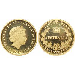 Sydney, Australia, proof sovereign, Elizabeth II, 2005, 150th Anniversary of the Sovereign, encapsul