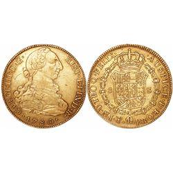 Potosi, Bolivia, bust 8 escudos, Charles III, 1780PR.