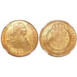 Potosi, Bolivia, bust 8 escudos, Charles IV, 1800PP, encapsulated NGC AU 55.