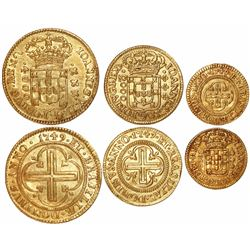 Brazil, set of 3 gold coins of the 1749 issue struck in Lisbon for the State of Maranhao: 4000, 2000