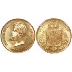 Brazil, 10000 reis, Pedro II, 1855, encapsulated NGC MS 65, finest known in NGC census (by three gra