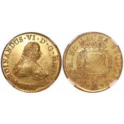 Santiago, Chile, bust 8 escudos, Ferdinand VI, 1751J, encapsulated NGC MS 61, from the Luz (1752).