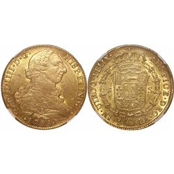 Santiago, Chile, bust 8 escudos, Charles IV (bust of Charles III), 1796DA, encapsulated NGC AU 58.